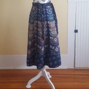 Darn Good Yarn Blue Peacock Cotton Wrap Skirt